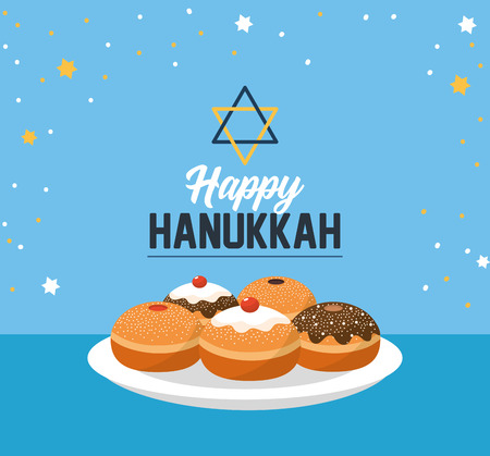 happy hanukkah with sweet breads and david star Illustration