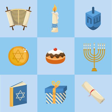 set happy hanukkah decoration to tradition religion Illustration