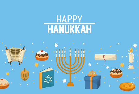 happy hanukkah candles and decoration to celebration