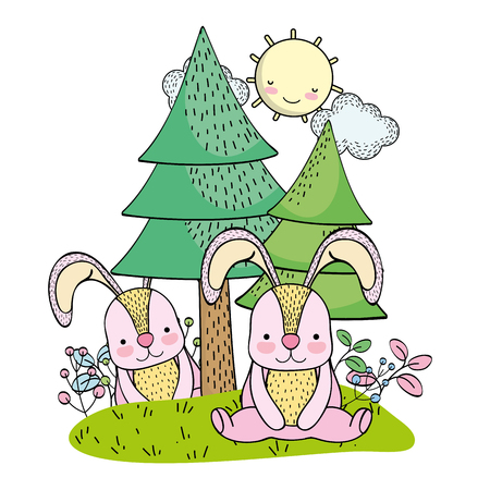 Rabbits wild animals cartoon
