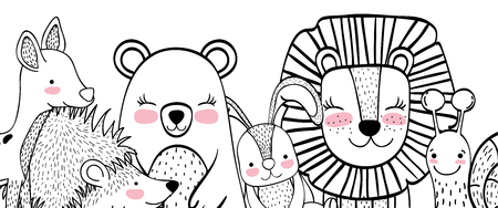Wild animals drawings doodle in black and white cartoons vector illustration graphic design Vektorové ilustrace