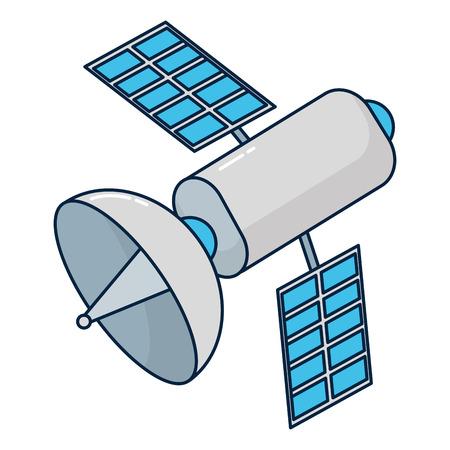 Satellite technology cartoon Vektoros illusztráció