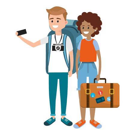 Tourist couple cartoons 向量圖像