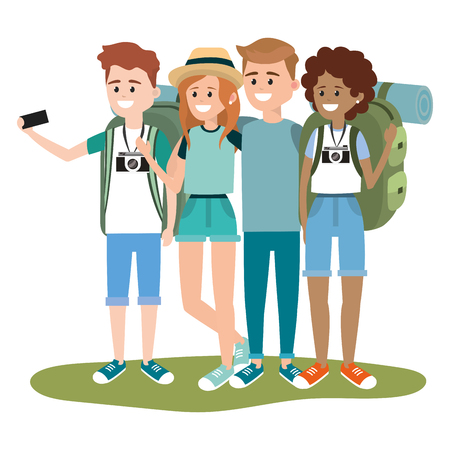 Young backpackers tourists cartoons vector illustration graphic design