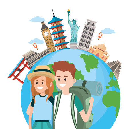 Young couple backpackers tourists around world vector illustration graphic design
