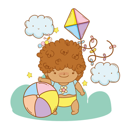 Cute baby afro girl cartoon with ball and kite vector illustration graphic design