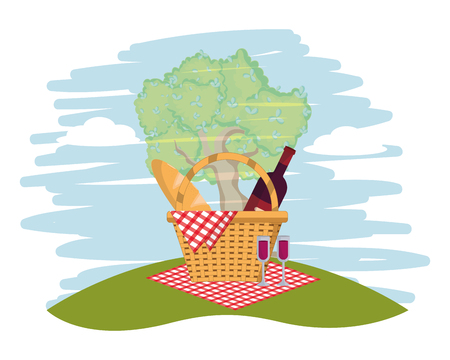 Picnic basket with food on park scenery vector illustration graphic design Illustration