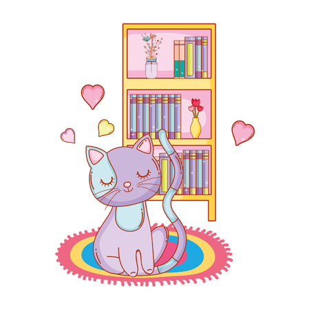 cute kitty cat sitting in front of bookshelf on carpet cartoon vector illustration graphic design