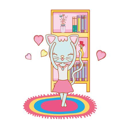 cute ballerina cat dancing ballet in front of bookshelf isolated cartoon vector, illustration, graphic, design Illustration