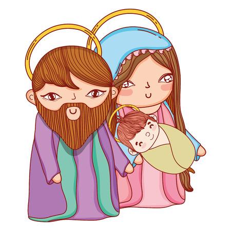 Christmas nativity scene cartoon Vettoriali