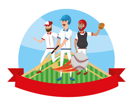 baseball players team playing with banner isolated cartoon vector illustration graphic design Illustration