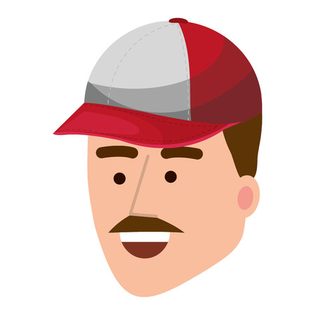 baseball player face isolated cartoon vector illustration graphic design Illustration