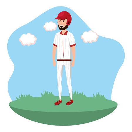 baseball batter player on field isolated cartoon vector illustration graphic design