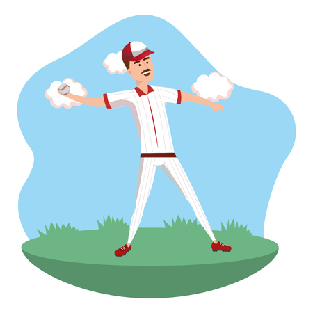 baseball player throwing on field isolated cartoon vector illustration graphic design Illustration