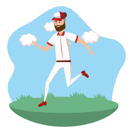 baseball player on the field isolated cartoon vector illustration graphic design