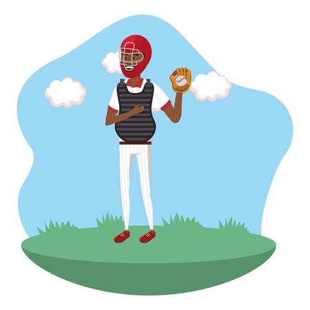 baseball catcher player on field isolated cartoon vector illustration graphic design 矢量图像
