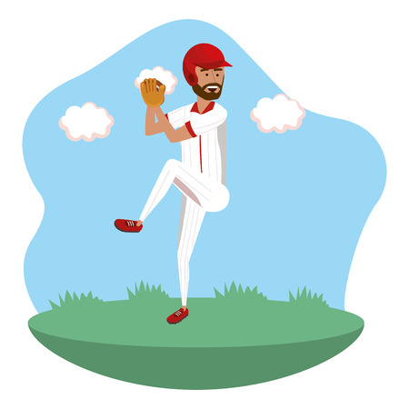 baseball pitcher player on field isolated cartoon vector illustration graphic design 矢量图像