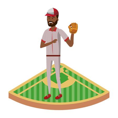 baseball baseman player on base isolated cartoon vector illustration graphic design