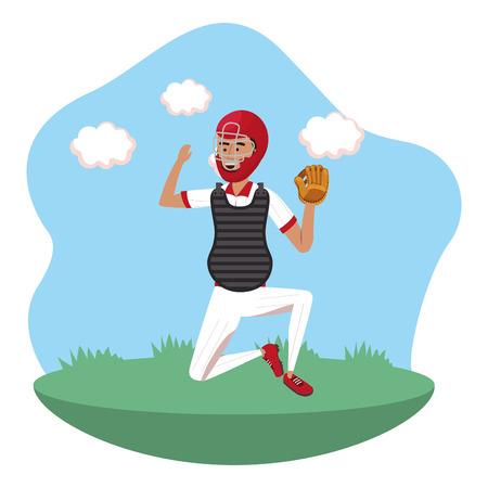 baseball catcher player on field isolated cartoon vector illustration graphic design Ilustrace