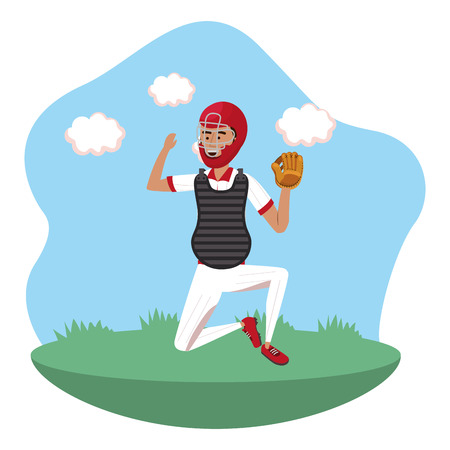baseball catcher player on field isolated cartoon vector illustration graphic design Illustration