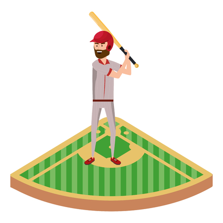 baseball batter player on base isolated cartoon vector illustration graphic design
