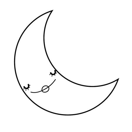 Cute moon cartoon in black and white
