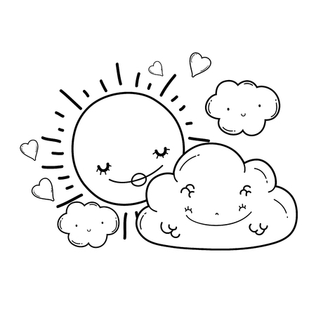 Sun and clouds cartoons in black and white