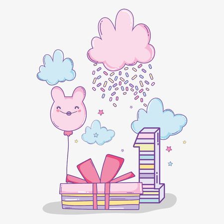 happy birthday celebration with candy cotton and present vector illustration Illustration