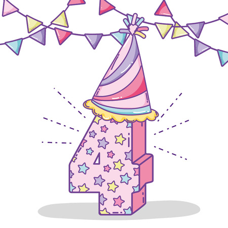birthday celebrate four years with party flags and hat vector illustration 일러스트