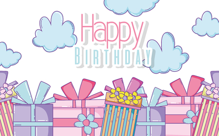 happy birthday with presents and clouds decoration vector illustration Illustration