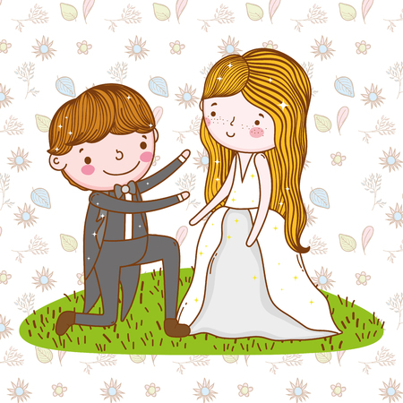 man and woman wedding over leaves and flowers background vector illustration Ilustração