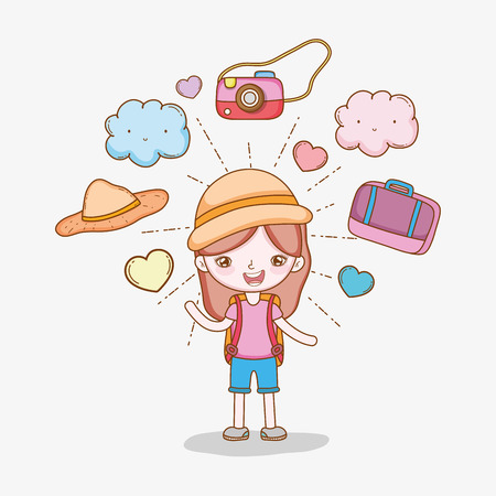 girl with camera and baggage to wanderlust adventure vector illustration