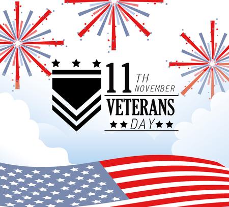 veterans day celebration with fireworks and flag vector illustration