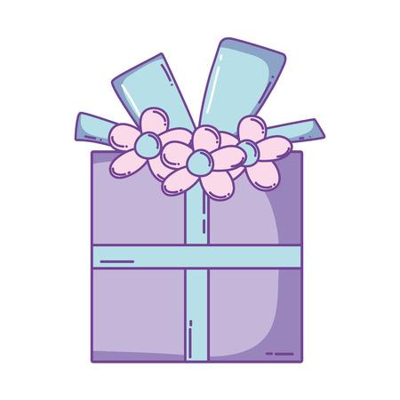 Birthday striped giftbox cartoon vector illustration graphic design Stock Illustratie