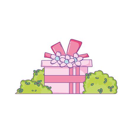Birthday giftbox between bushes cartoon