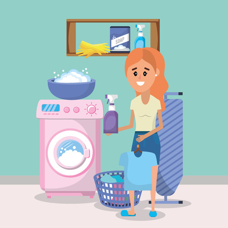 Woman on laundry room with appliances cartoon vector illustration graphic design