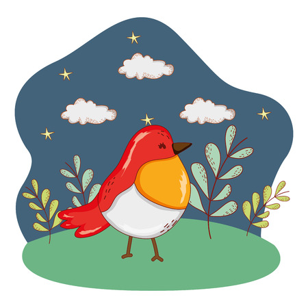 cute bird outdoors in nature scenery cartoon vector illustration graphic design