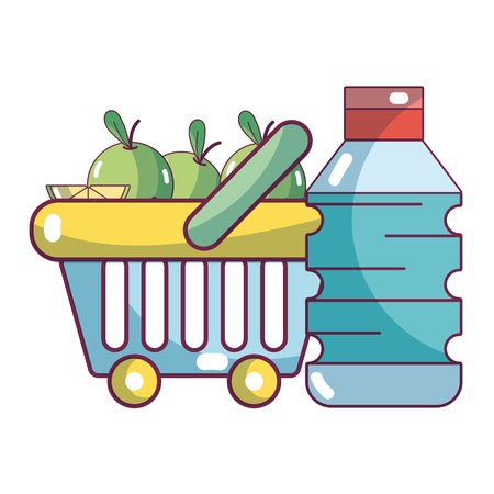 supermarket products and grosery elements cartoon vector illustration graphic design