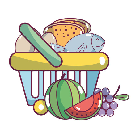 supermarket shopping basket and products elements cartoon vector illustration graphic design