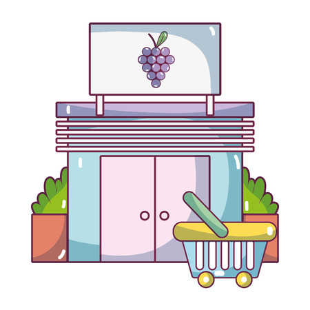 supermarket exterior and grocery shop elements cartoon vector illustration graphic design