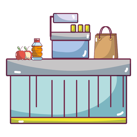 supermarket cash register and grocery products cartoon vector illustration graphic design Illustration