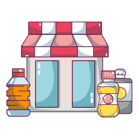supermarket grocery products cartoon Illustration