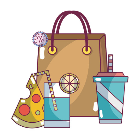 supermarket shopping bag and products elements cartoon vector illustration graphic design