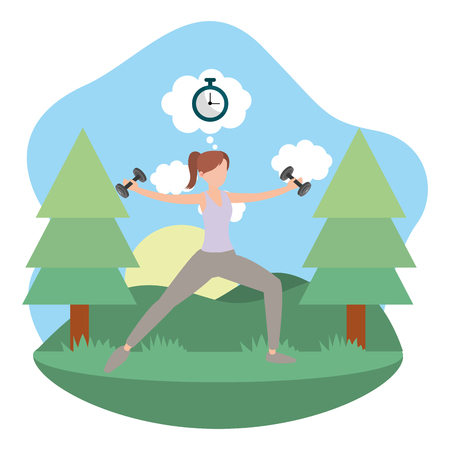 young woman doing exercise outdoors isolated cartoon vector illustration graphic design