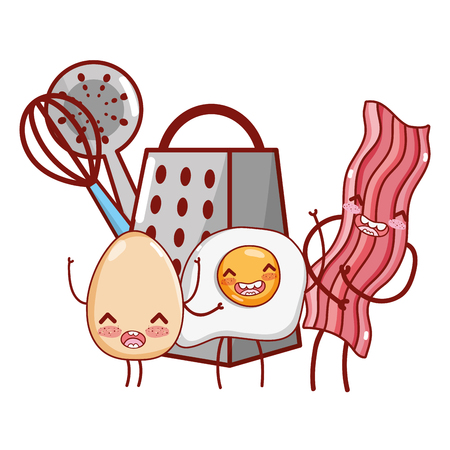 kitchenware and ingredients cartoon  イラスト・ベクター素材