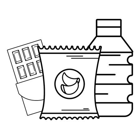 supermarket grocery products and elements black and white cartoon vector illustration graphic design