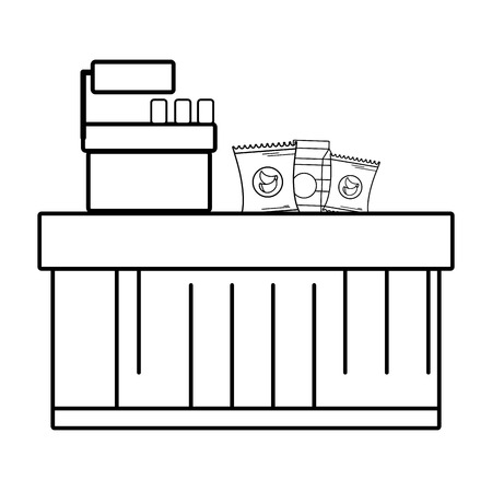 supermarket grocery products and cash register black and white cartoon vector illustration graphic design Illustration