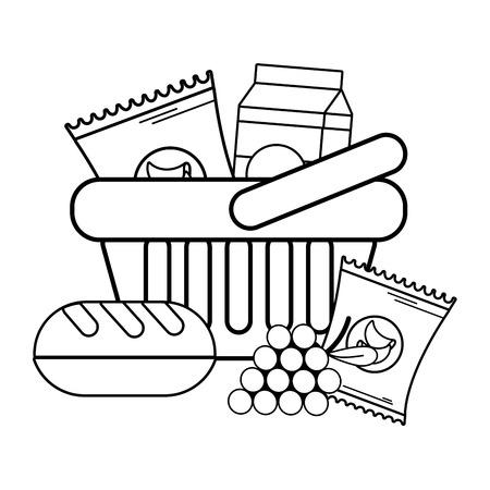 Cesta de la compra de comestibles bolsa de comida ilustración vectorial diseño gráfico