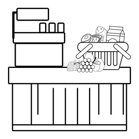 supermarket cashier purchase groceries food