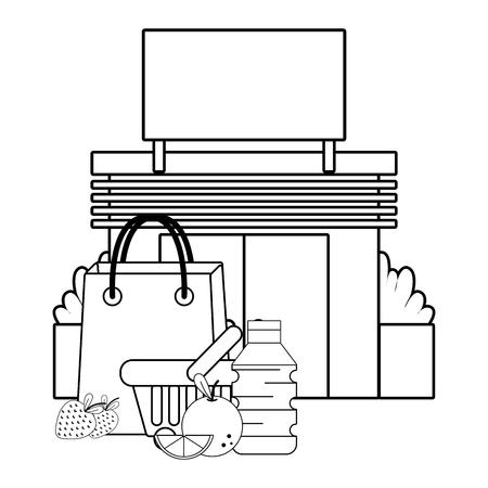 supermercado tienda comestibles negocio compra Ilustración de vector